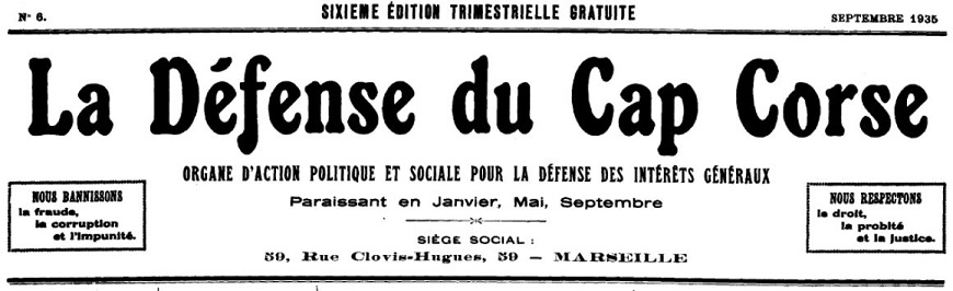 Photo (Archives de la Collectivité de Corse – Pumonti) de : La Défense du Cap Corse. Marseille, 1934-[1935 ?]. ISSN 2125-4516.