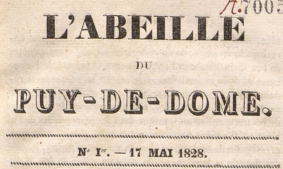 Photo (Bibliothèque du patrimoine de Clermont Auvergne métropole) de : L'Abeille du Puy-de-Dôme. Clermont-Ferrand, 1828. ISSN 2120-0645.