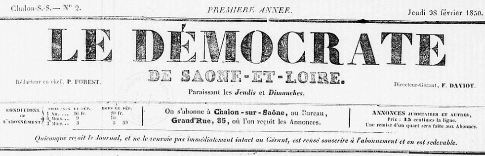 Photo (BnF / Gallica) de : Le Démocrate de Saône-et-Loire. Châlon-sur-Saône, 1850-[1850 ?]. ISSN 1959-9943.