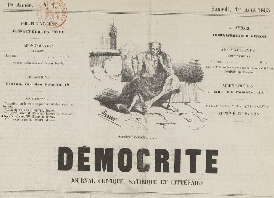 Photo (BnF / Gallica) de : Démocrite. Toulon, 1863-[1864 ?]. ISSN 2016-8519.