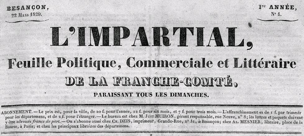 Photo (Bibliothèque municipale (Besançon)) de : L'Impartial. Besançon, 1829-[1858 ?]. ISSN 2017-3075.