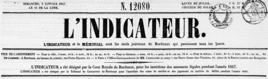 Photo (BnF / Gallica) de : L'Indicateur. Bordeaux: Impr. Coudert, 1804-[1862 ?]. ISSN 2016-985X.