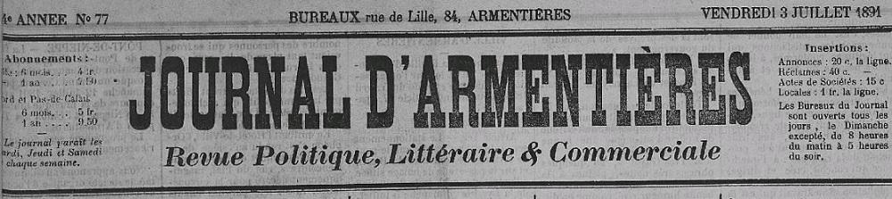 Photo (Armentières (Nord). Archives municipales) de : Journal d'Armentières. Armentières, 1877-[1910 ?]. ISSN 2130-2081.