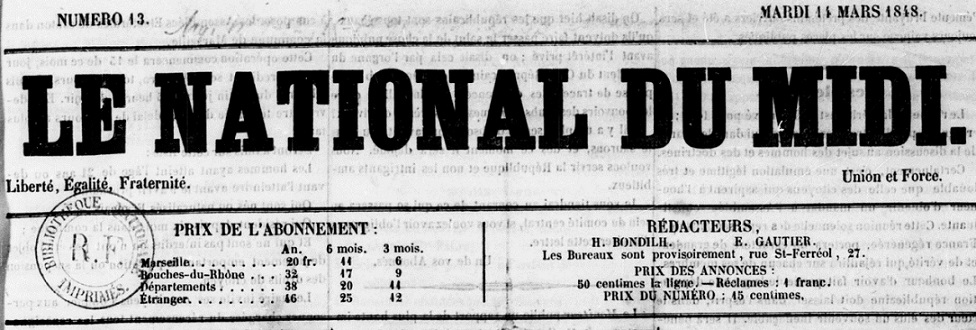 Photo (BnF / Gallica) de : Le National du Midi. Marseille, [1848 ?]. ISSN 2132-767X.