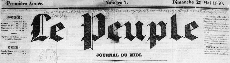 Photo (BnF / Gallica) de : Le Peuple. Marseille, 1850-1851. ISSN 2134-809X.