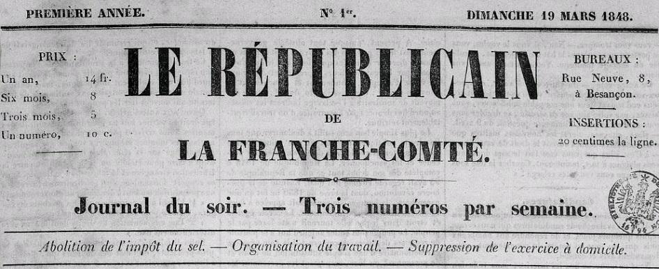 Photo (Bibliothèque municipale (Besançon)) de : Le Républicain de la Franche-Comté. Besançon, 1848. ISSN 2136-3056.