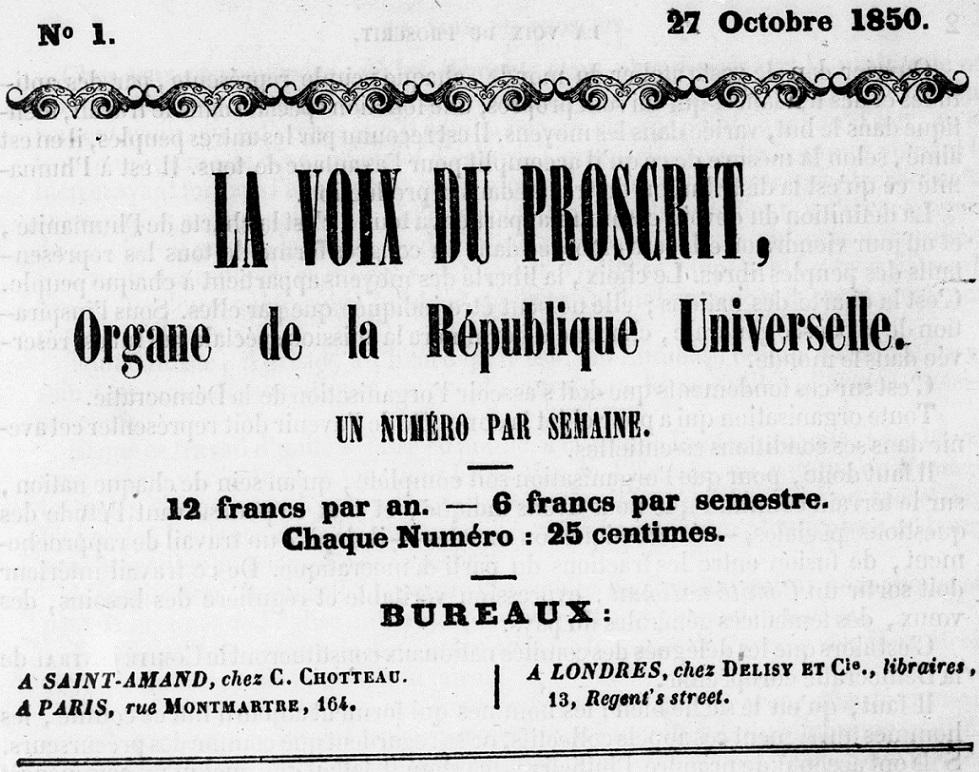 Photo (BnF / Gallica) de : La Voix du proscrit. Saint-Amand: C. Chotteau, Paris, Londres: Delisy, 1850-1851. ISSN 2018-705X.