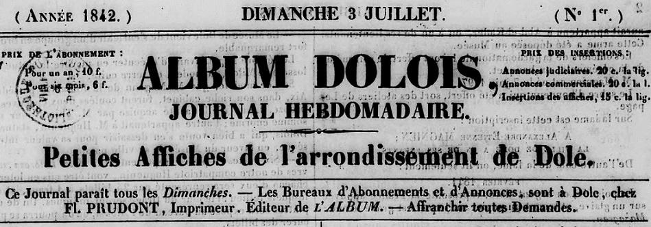 Photo (BnF / Gallica) de : Album dolois. Dole: F. Prudont, 1842-1873. ISSN 1153-8007.