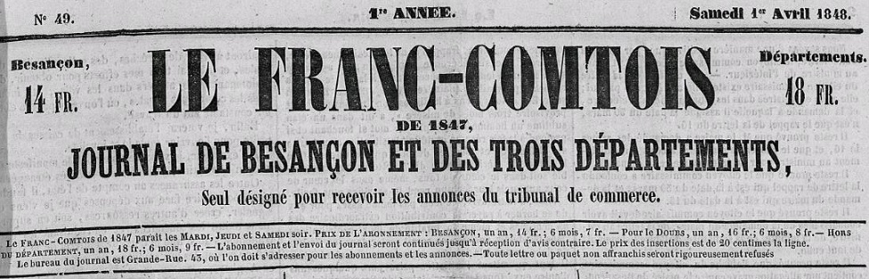 Photo (Bibliothèque municipale (Besançon)) de : Le Franc-Comtois. Besançon, 1840-1850. ISSN 2017-1633.