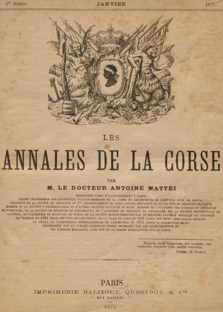 Photo (Université de Corse (1975-....)) de : Les Annales de la Corse. Paris: Bureau des Annales de la Corse, 1877-1879. ISSN 2015-7533.