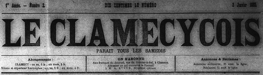 Photo (Nièvre. Archives départementales) de : Le Clamecycois. Clamecy, 1885-1926. ISSN 2117-3583.