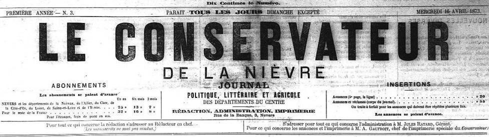 Photo (Nièvre. Archives départementales) de : Le Conservateur de la Nièvre. Nevers, 1873-1882. ISSN 2115-1369.