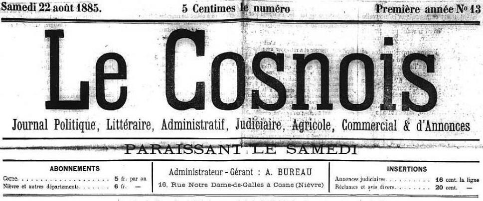 Photo (Nièvre. Archives départementales) de : Le Cosnois. Cosne, 1885-1941. ISSN 2117-4059.