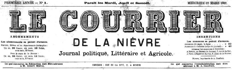 Photo (Nièvre. Archives départementales) de : Le Courrier de la Nièvre. Nevers, 1882-1883. ISSN 2115-1385.