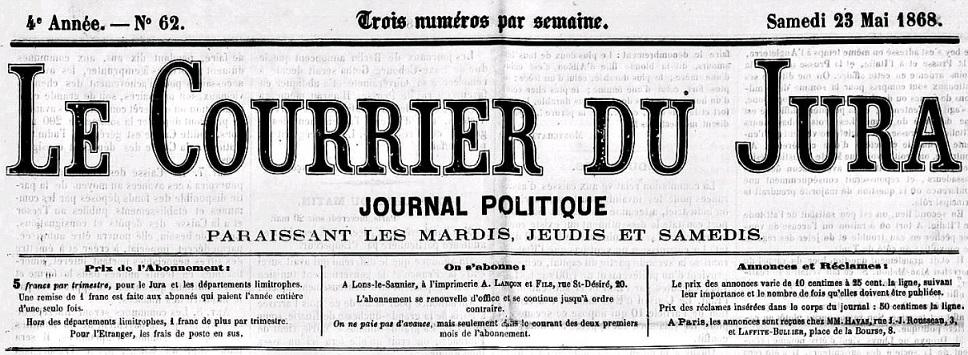Photo (Jura. Archives départementales) de : Le Courrier du Jura. Lons-le-Saunier, 1865-1886. ISSN 2024-3251.
