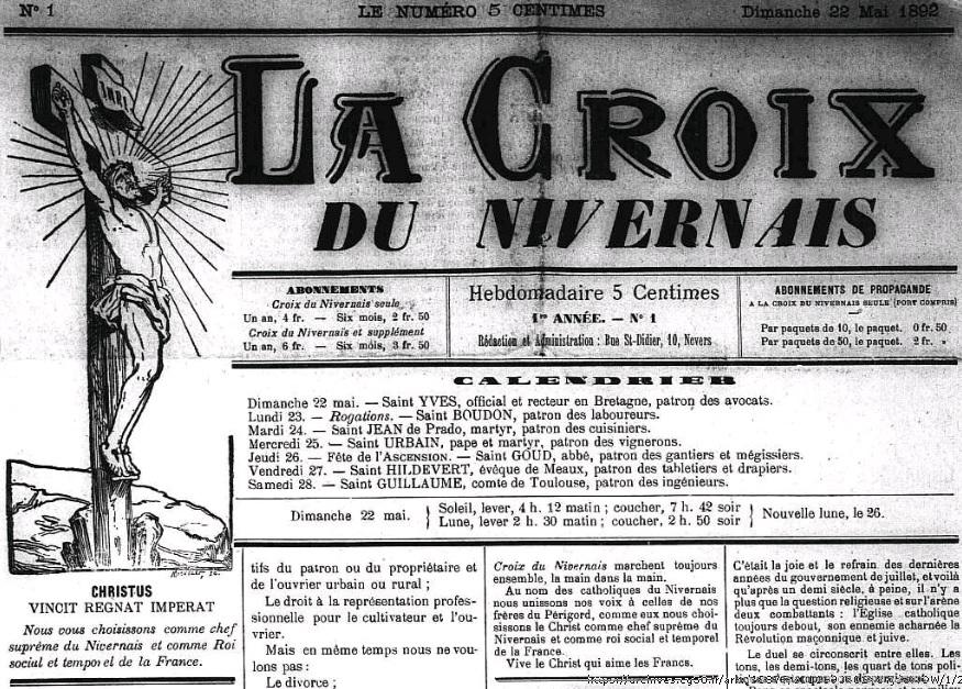 Photo (Nièvre. Archives départementales) de : La Croix du Nivernais. Nevers, 1892-[1940 ?]. ISSN 2117-3109.