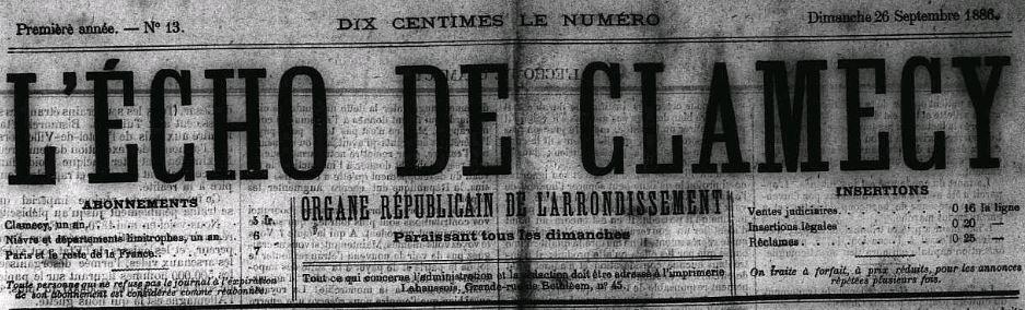 Photo (Nièvre. Archives départementales) de : L'Écho de Clamecy. Clamecy, 1886-1940. ISSN 2116-9810.