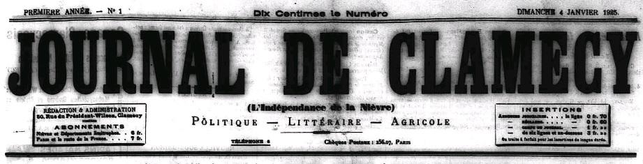 Photo (Nièvre. Archives départementales) de : Journal de Clamecy. Clamecy, 1925-1930. ISSN 2115-3094.