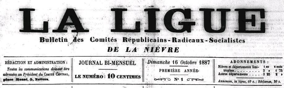 Photo (Nièvre. Archives départementales) de : La Ligue. Nevers, 1887-1888. ISSN 2115-3426.
