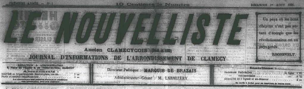 Photo (Nièvre. Archives départementales) de : Le Nouvelliste. Clamecy, 1926-1931. ISSN 2117-3729.