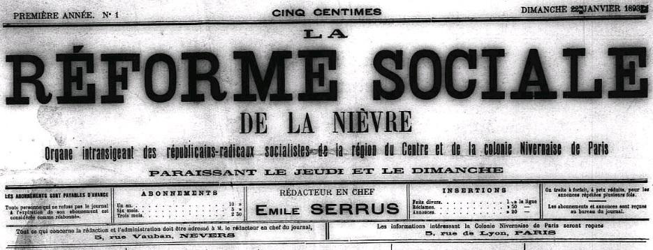 Photo (Nièvre. Archives départementales) de : La Réforme sociale de la Nièvre. Nevers, Paris, 1893-1927. ISSN 2118-7916.