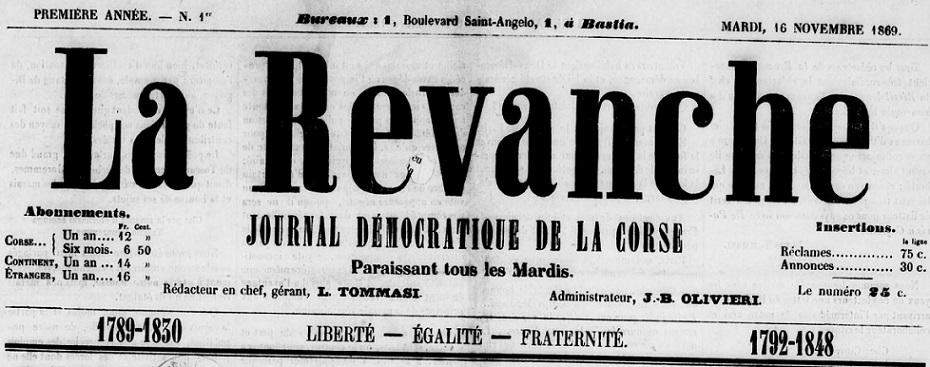Photo (BnF / Gallica) de : La Revanche. Bastia, 1869-[1870 ?]. ISSN 2136-6241.