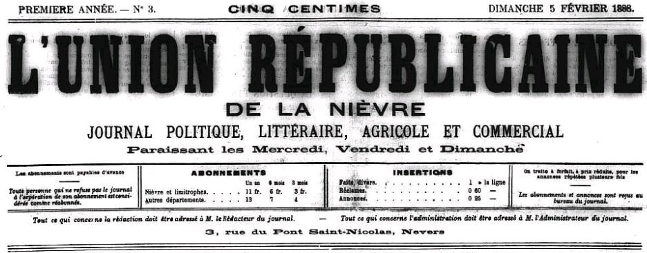 Photo (Nièvre. Archives départementales) de : L'Union républicaine de la Nièvre. Nevers, 1888-1895. ISSN 2116-7370.