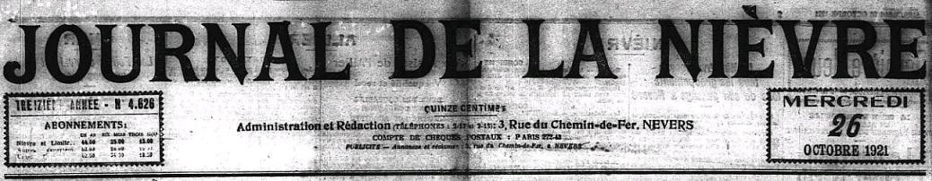 Photo (Nièvre. Archives départementales) de : Journal de la Nièvre. Nevers, 1921-1939. ISSN 2270-4159.