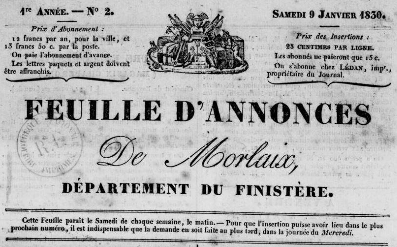 Photo (BnF / Gallica) de : Feuille d'annonces de Morlaix. Morlaix, 1830-1849. ISSN 2127-9101.