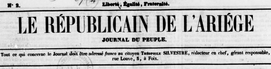 Photo (BnF / Gallica) de : Le Républicain de l'Ariège. Foix, [1849 ?-1850 ?]. ISSN 2102-8052.