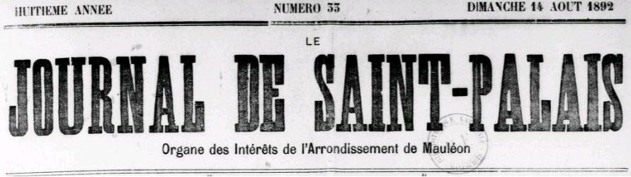 Photo (BnF / Gallica) de : Le Journal de Saint-Palais. Saint-Palais: Journal de Saint-Palais, 1884-2002. ISSN 1274-6843.