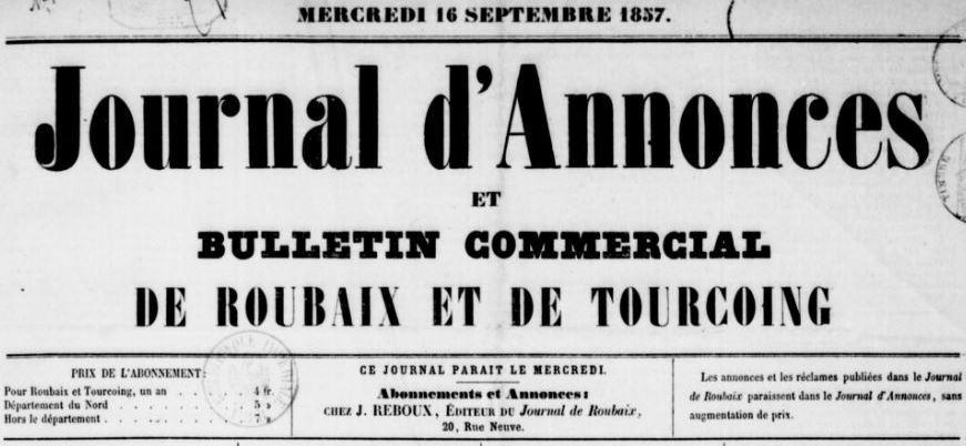 Photo (BnF / Gallica) de : Journal d'annonces et bulletin commercial de Roubaix et de Tourcoing. Roubaix, 1857-[1860 ?]. ISSN 2130-1859.