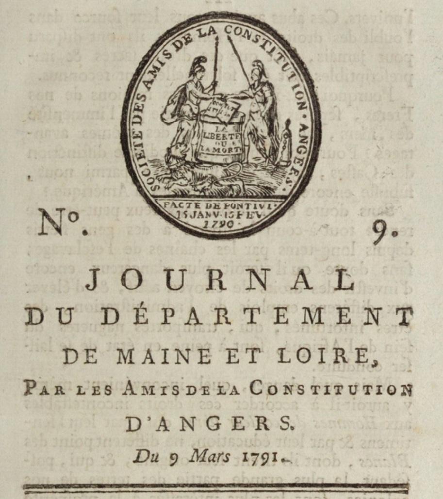 Photo (BnF / Gallica) de : Journal du département de Maine-et-Loire. Angers, 1791-[1800 ?]. ISSN 2130-8675.