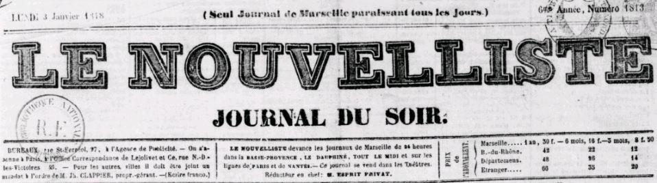 Photo (BnF / Gallica) de : Le Nouvelliste. Marseille, 1843-1870. ISSN 2133-1359.