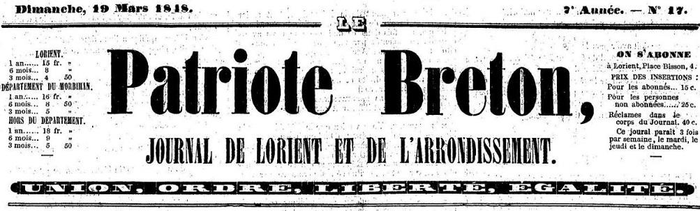Photo (Morbihan. Archives départementales) de : Le Patriote breton. Lorient, 1848. ISSN 2133-6695.